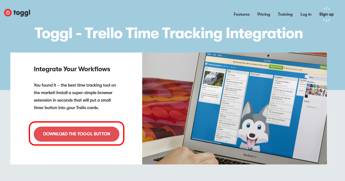 Togglのサイト画面