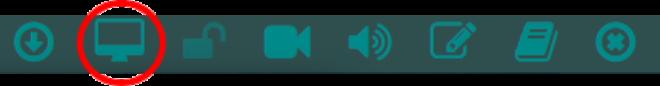 Bizmeeの画面共有アイコンを図示した状態のツールバー