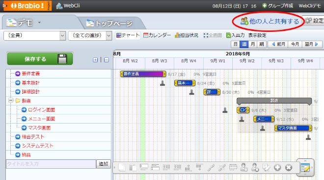 Brabio!のガントチャート作成後の画面