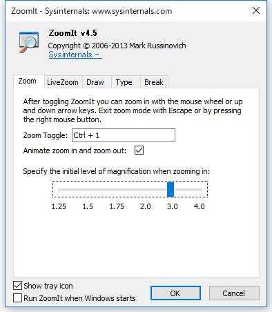 ZoomItの設定画面