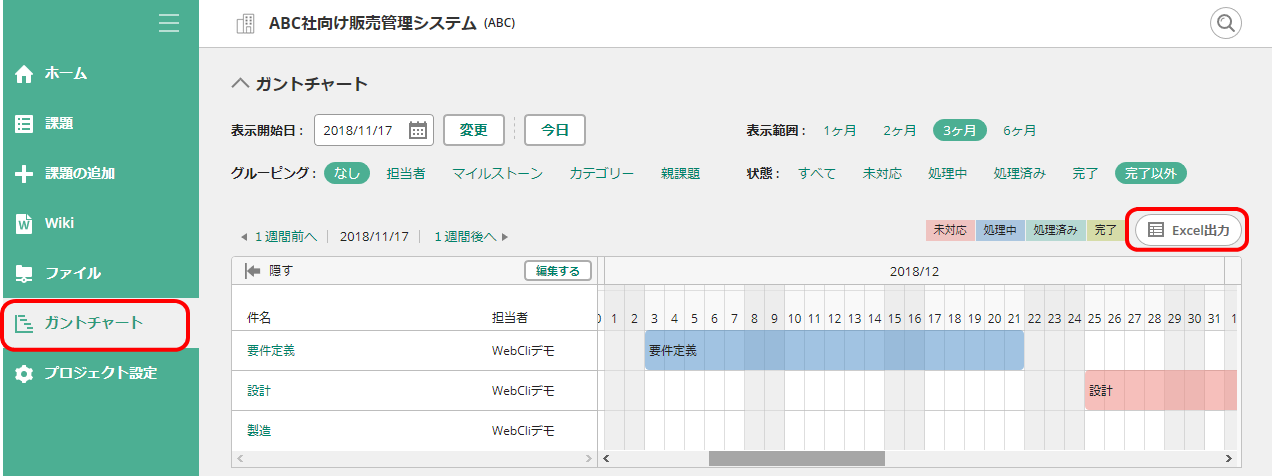 Backlogのガントチャート画面