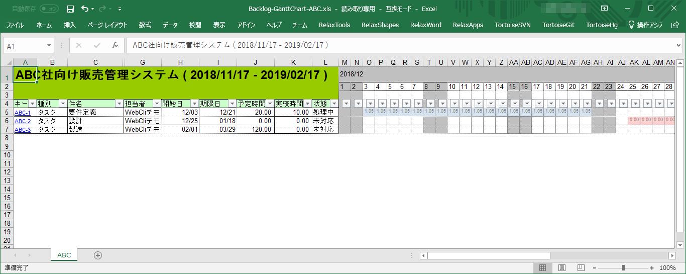 Backlogのガントチャートを出力したExcel画面