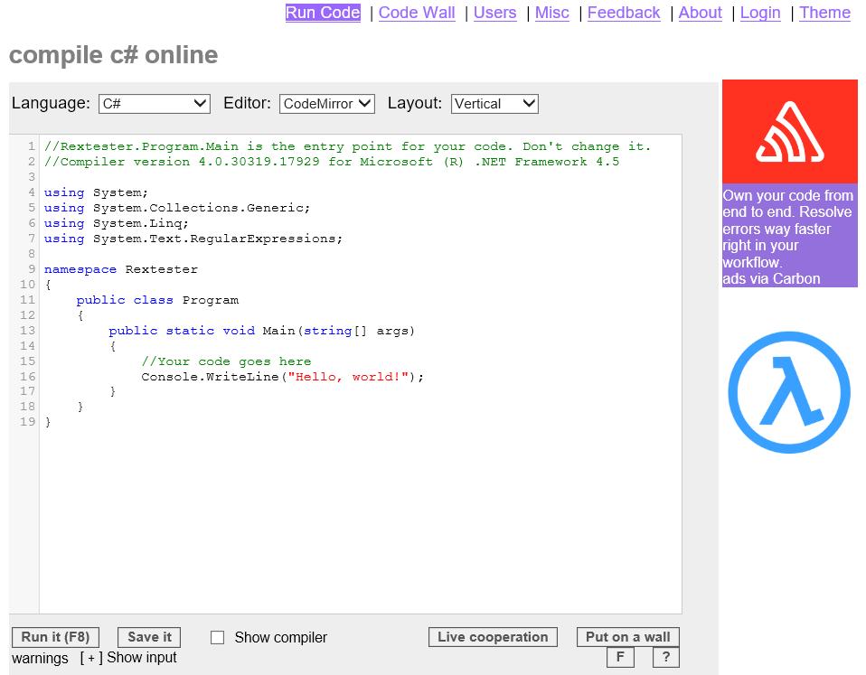 様々なプログラミング言語が試せる「Rextester」