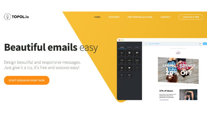 HTML形式のメールが作成できる「TOPOL.io」