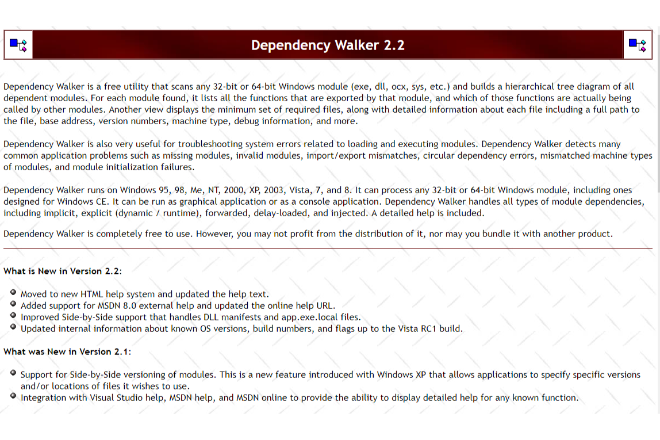 プログラムやDLLの依存関係を調べる「Dependency Walker」
