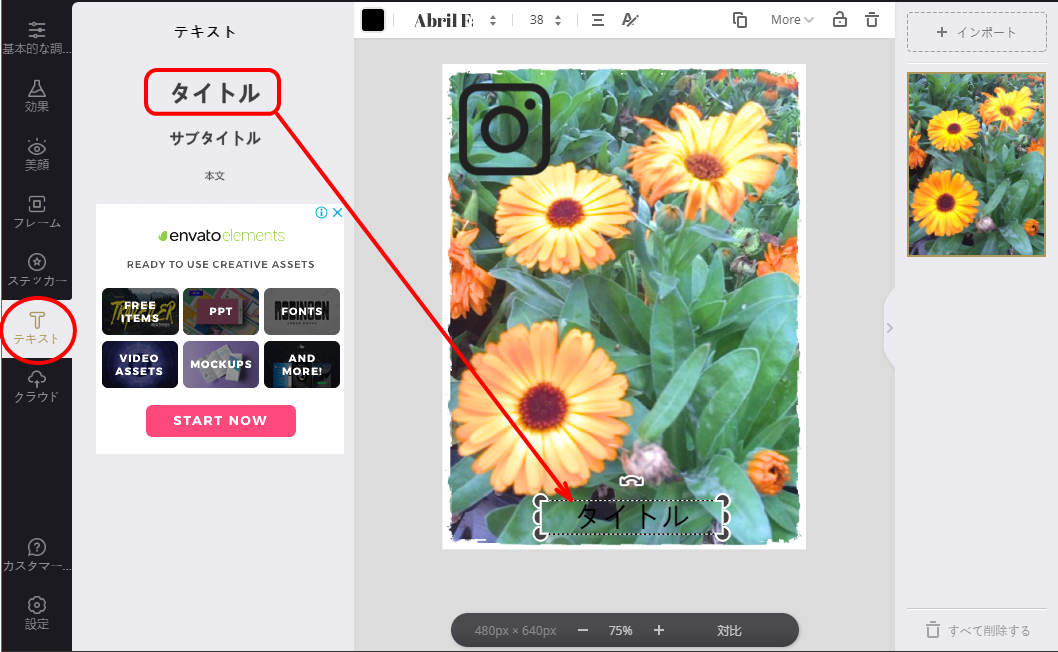 Fotorでテキストを挿入した後の画面