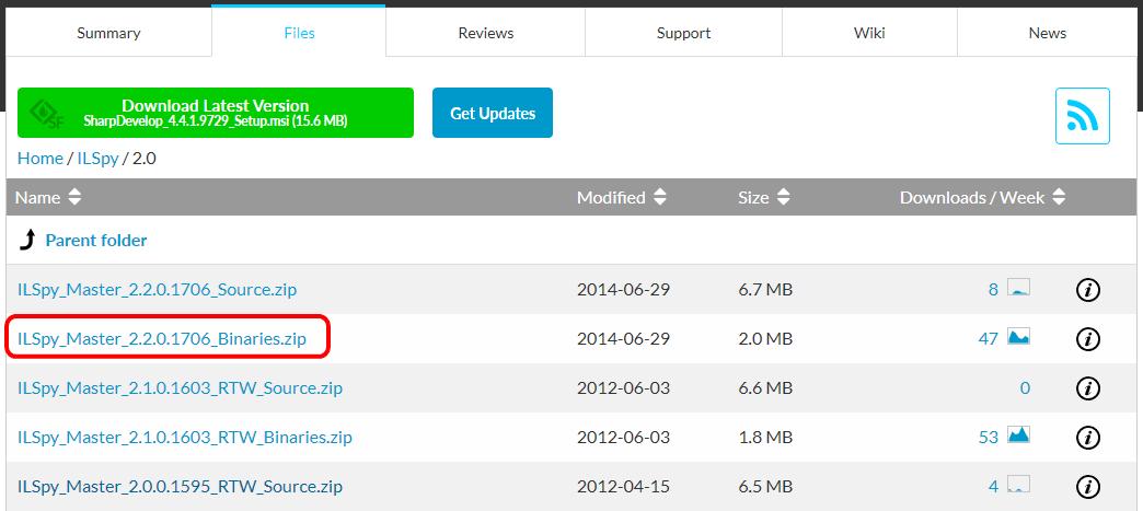 SourceForgeの「iLSpy」ダウンロード画面