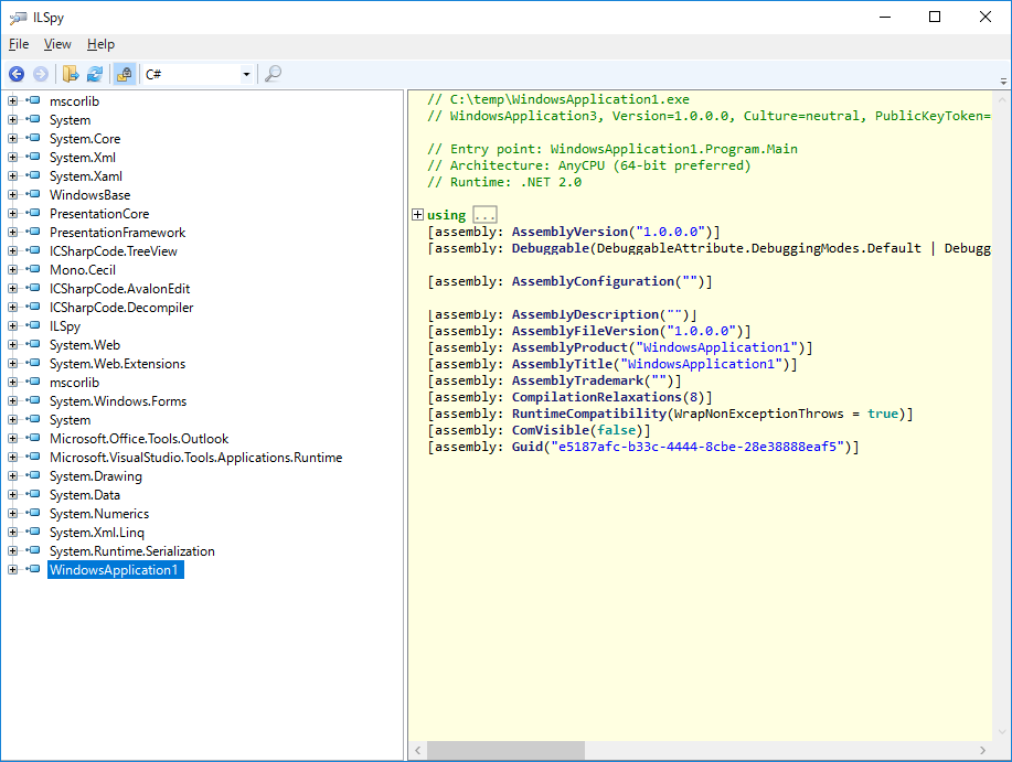 「iLSpy」でプログラムコードを逆生成した後の画面
