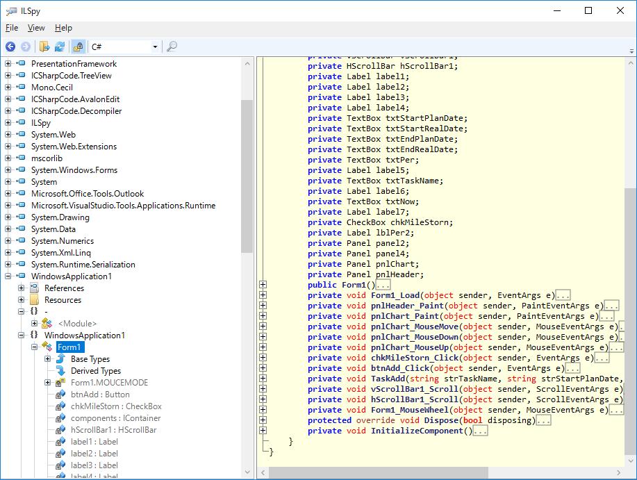 「iLSpy」で左のメニューを開いた後の画面