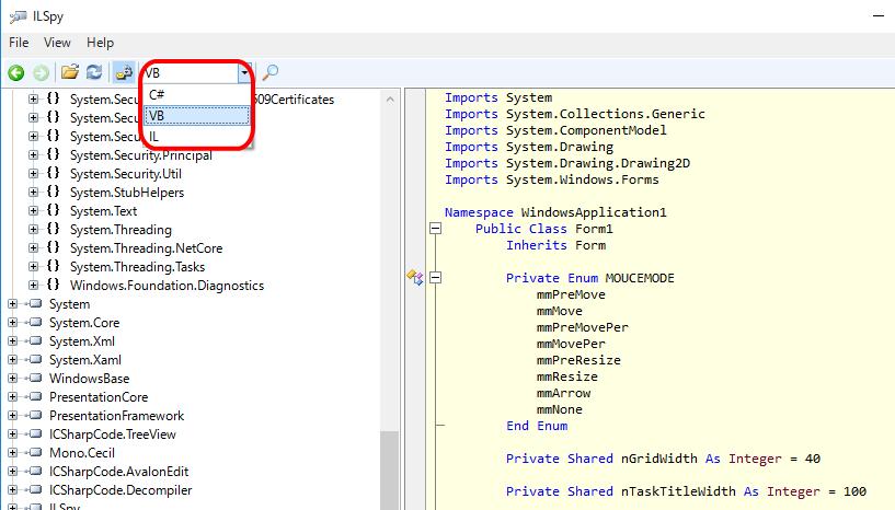 「iLSpy」でプログラム言語のプルダウンメニューを開いた状態の画面