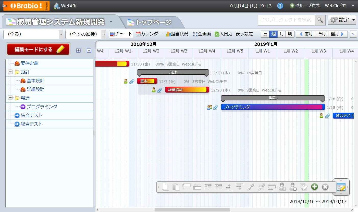 Brabio!のガントチャート画面