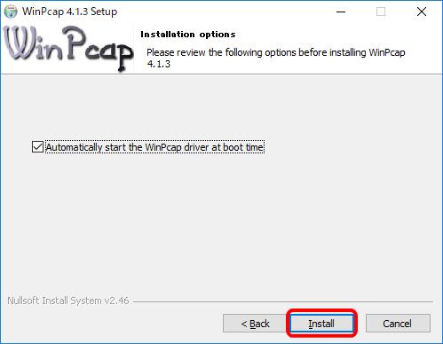 WinPcapのインストール確認画面