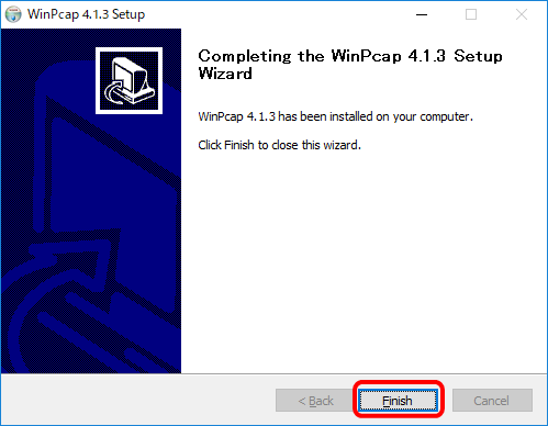 WinPcapのインストール完了画面