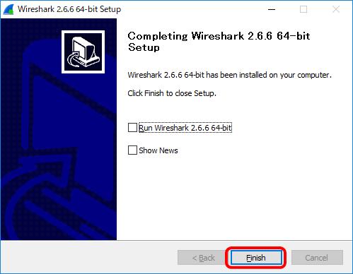 WireSharkのインストール完了画面