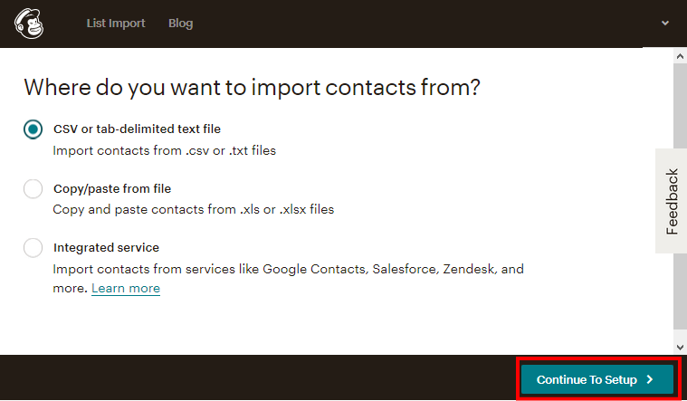 MailChimpのインポートデータ形式の設定画面