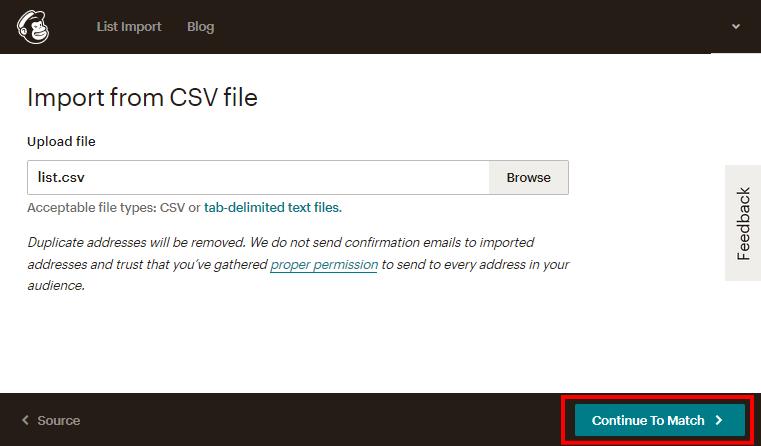 MailChimpのインポートデータの選択画面