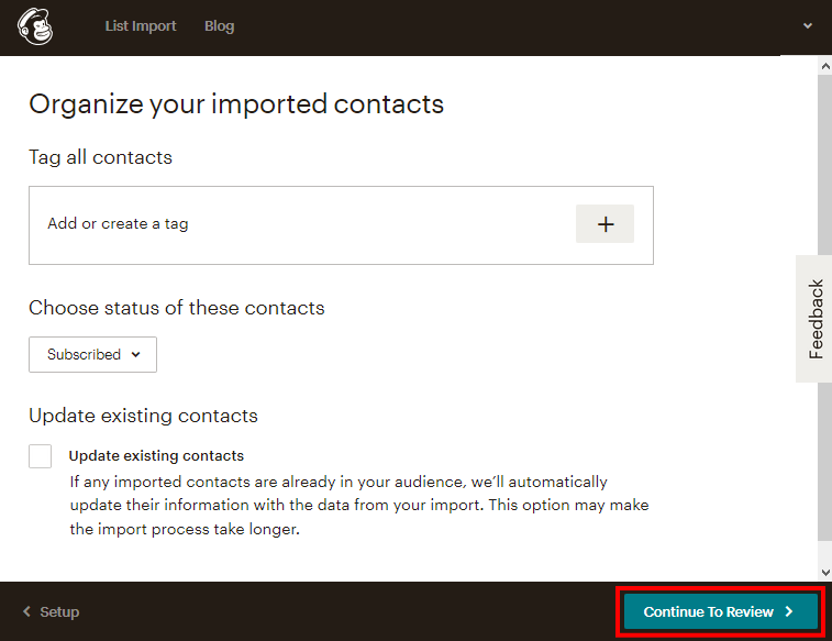 MailChimpのインポートデータのオプション設定画面