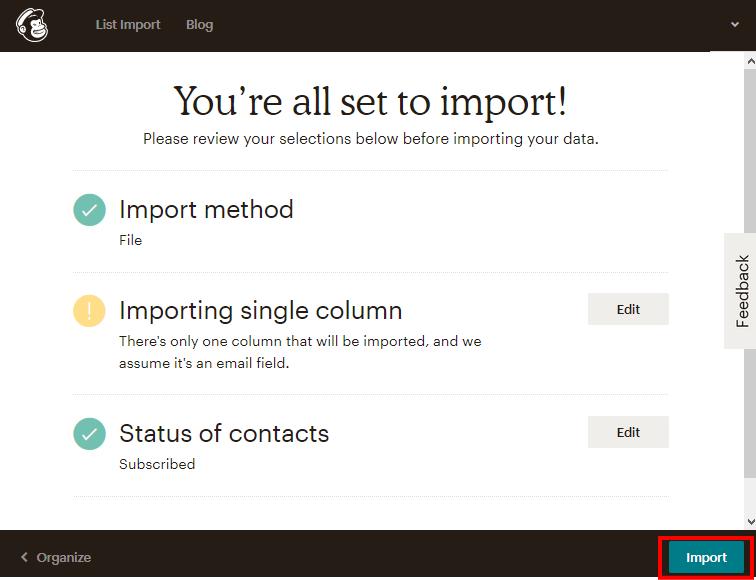MailChimpのインポート確認画面
