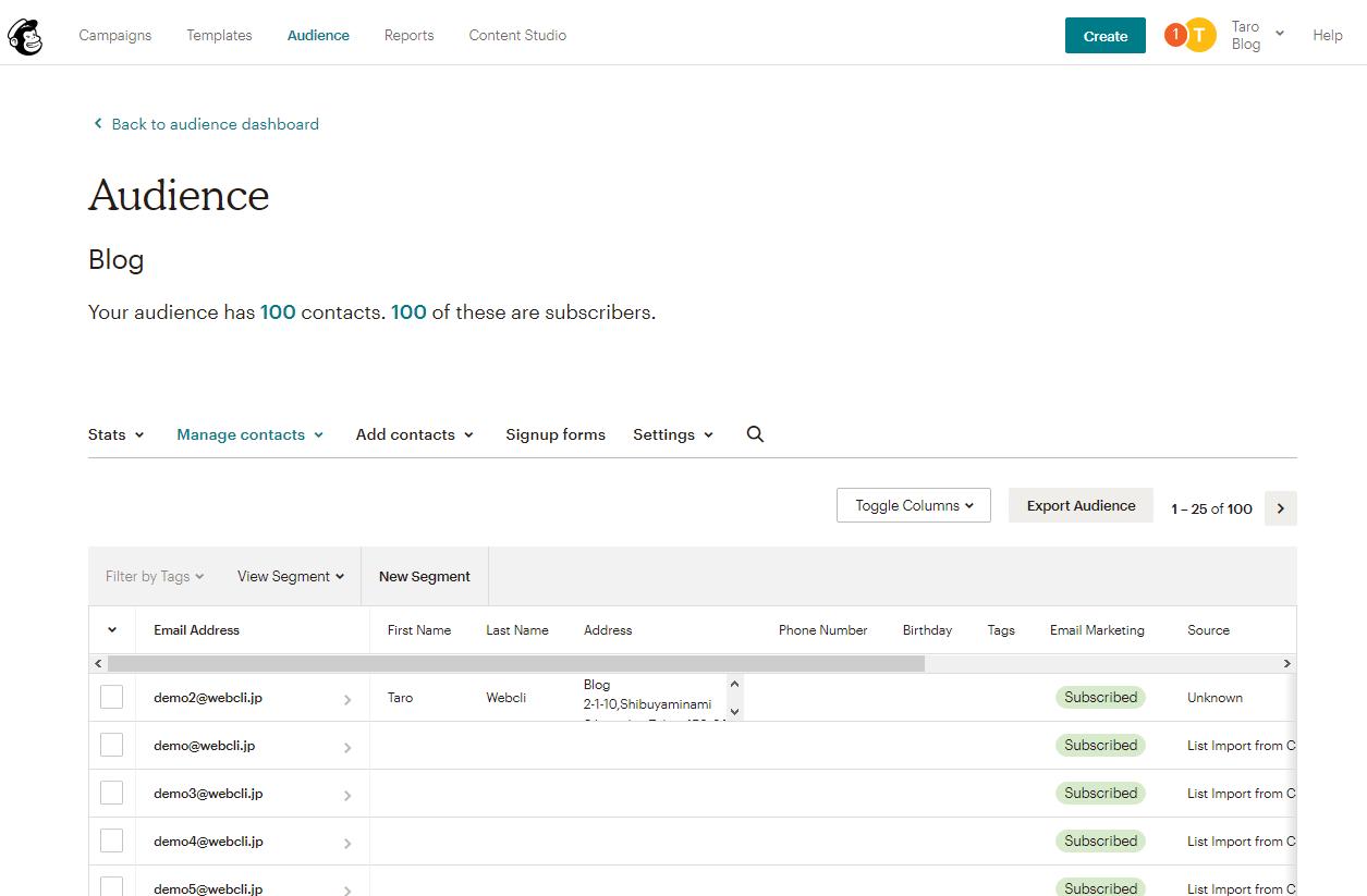 MailChimpのインポート後の配信リスト一覧画面