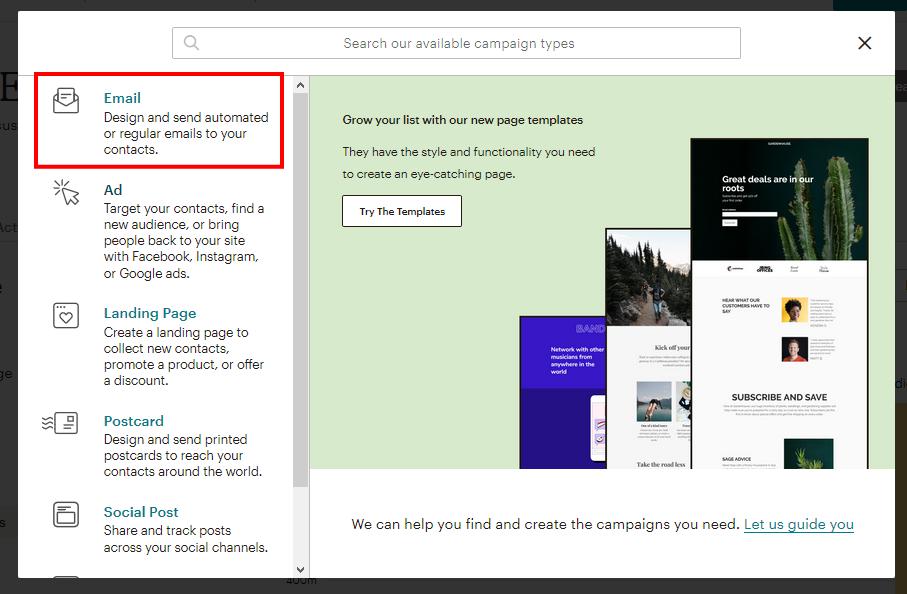 MailChimpのキャンペーン種類の選択画面