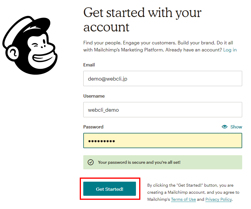 MailChimpのサインアップ画面