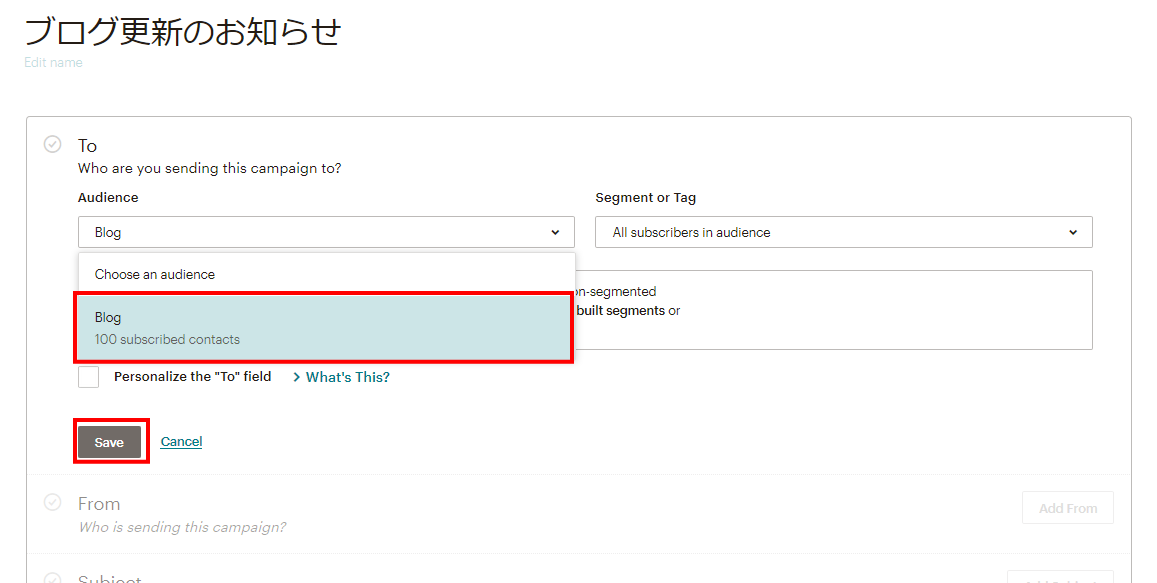 MailChimpのメール配信リスト選択画面