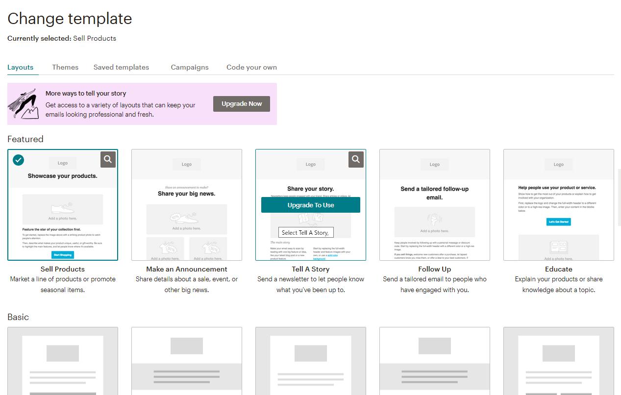 MailChimpの配信メールのテンプレート選択画面