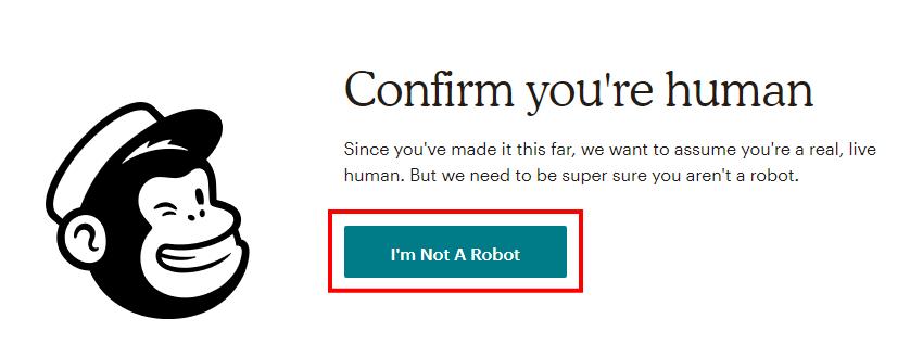 MailChimpのロボットでないことの確認画面