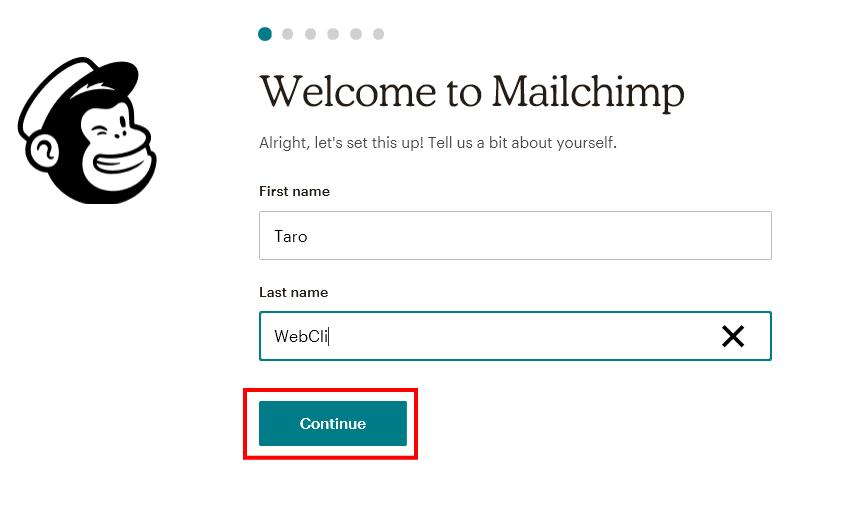 MailChimpの氏名入力画面