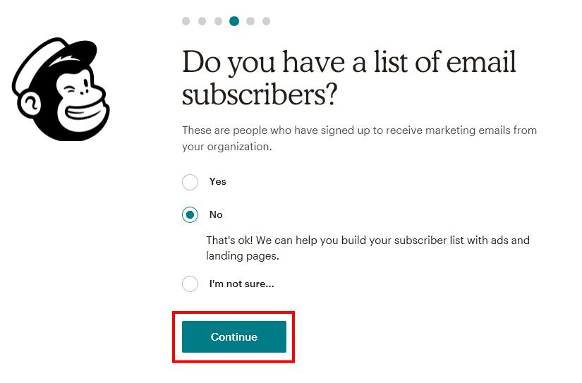 MailChimpの配信リストの確認画面