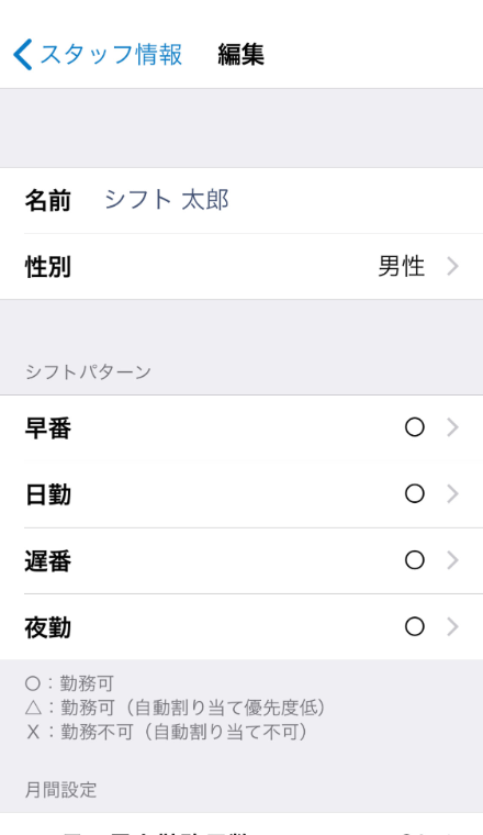 シフト表Liteのスタッフ情報の編集画面