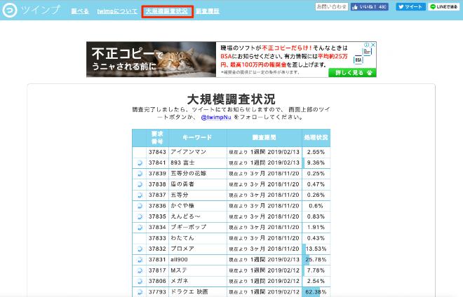 twimpの「大規模調査状況」を図示した状態の画面