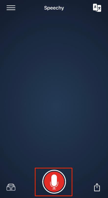 Speechy Liteのマイクボタンを図示した状態のホーム画面