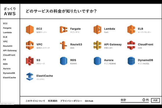 AWSの料金を日本円で計算できるサイト「ざっくりAWS」