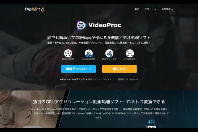 誰でも簡単にプロ並みの動画が作成できる「VideoProc」