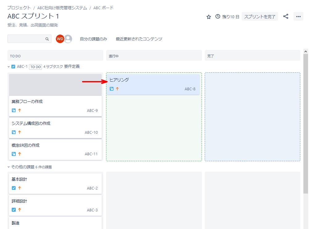 Jira Softwareのスプリント作成後の画面