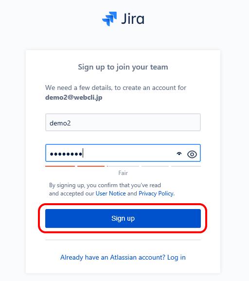 Jira Softwareのログイン画面