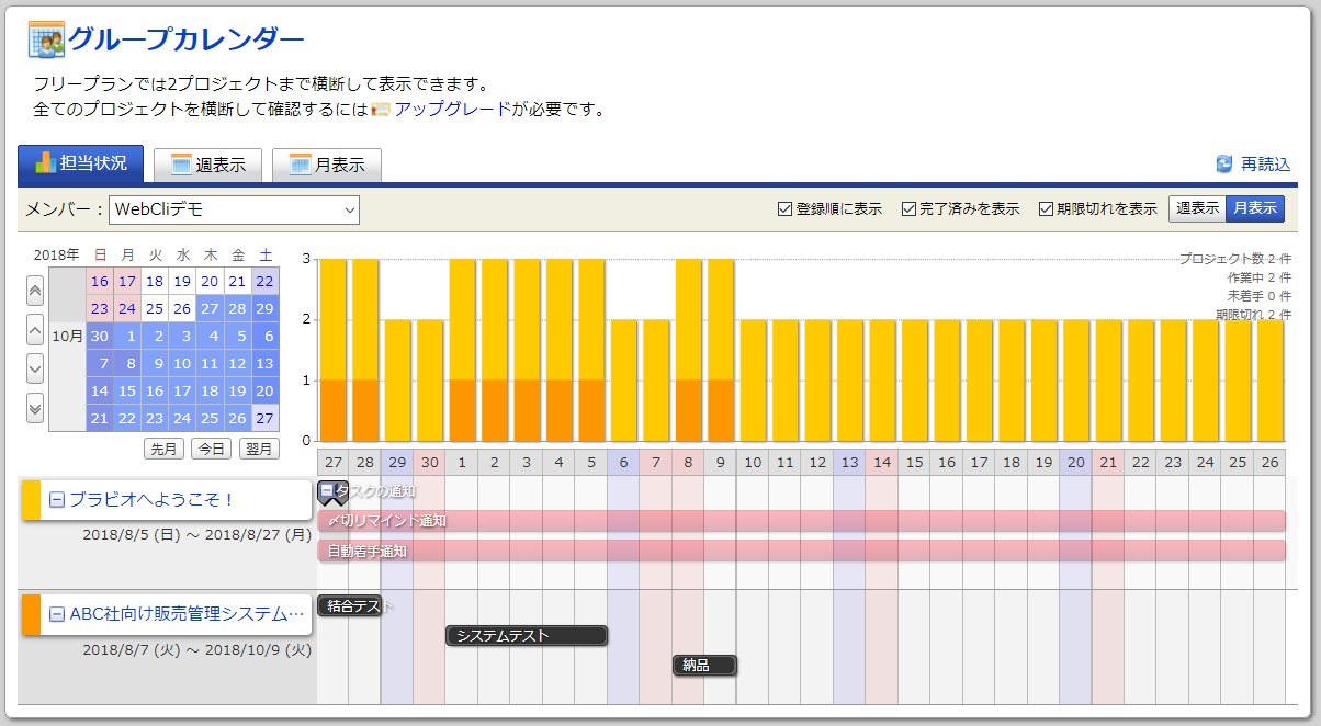 Brabio!のグループカレンダー画面