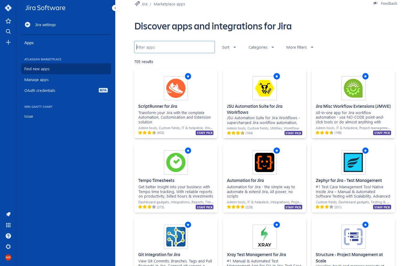 Jira Softwareのプラグイン一覧画面